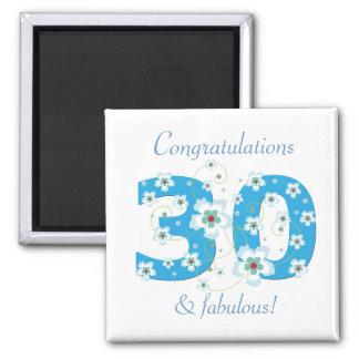 30 & fabulous birthday congratulations magnet