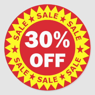30% OFF ROUND STICKER
