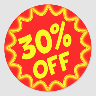 30 PERCENT OFF RETAIL LABEL ROUND STICKER
