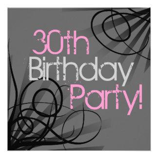 30 Pink Charcoal Swirl Custom Invitations