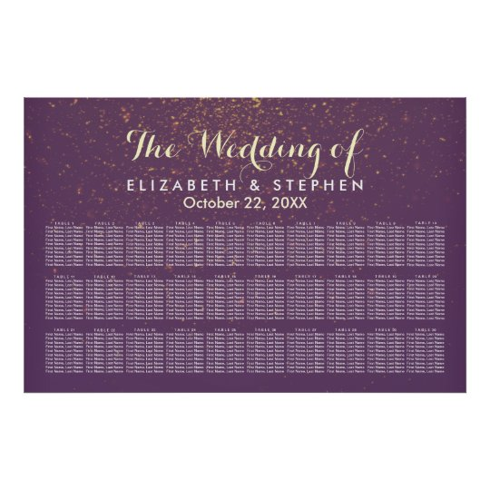 30 Table Purple Gold Glitter Wedding Seating Chart