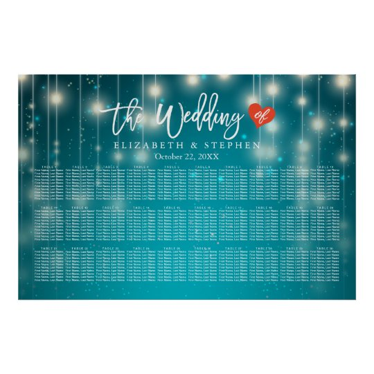 30+ Tables Wedding Seating Chart Blue String Light