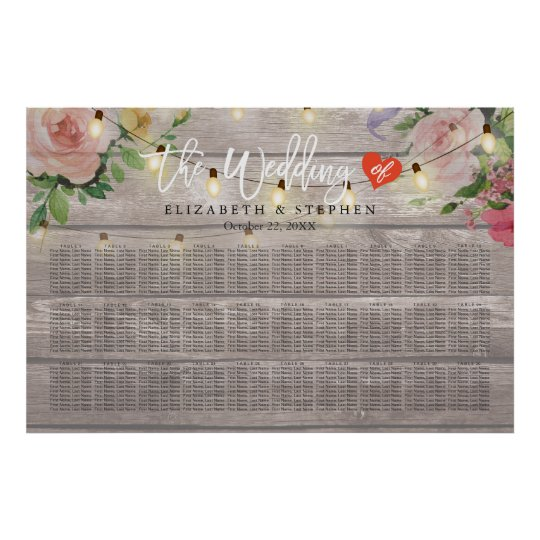 30+ Tables Wood Floral String Lights Seating Chart
