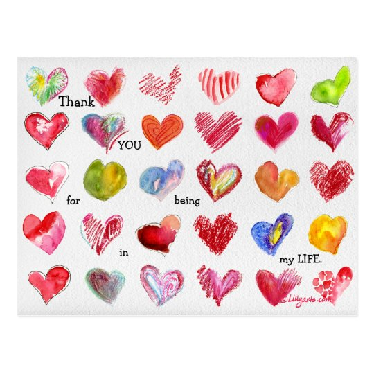 30 Thank You Valentine Hearts Postcard