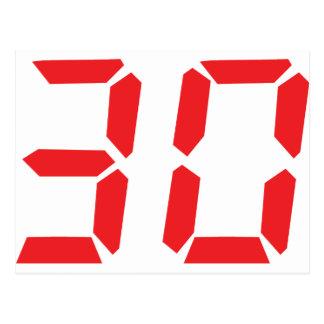 30 thirty red alarm clock digital number postcard