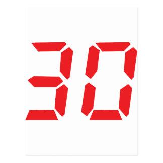 30 thirty red alarm clock digital number postcards