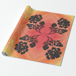 """30""""x6' Wrapping Paper Orange Red Rose Silhouette"""