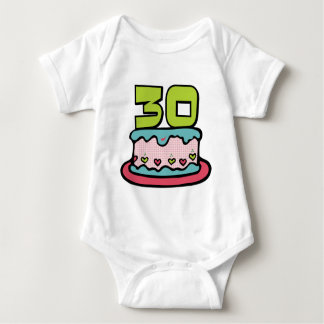 30 Year Old Birthday Cake Baby Bodysuit