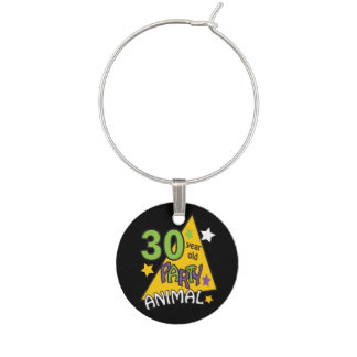 30 Year Old Party Animal | Birthday Wine Glass Charm
