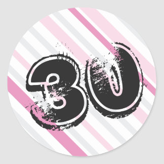 30 yr Bday Pink - 30th Birthday Round Sticker