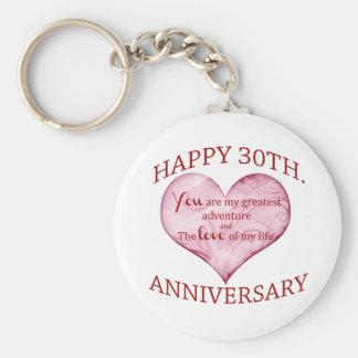 30th. Anniversary Basic Round Button Key Ring