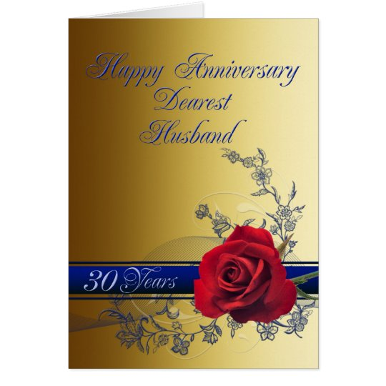 30th anniversary card for husband with a red rose zazzle