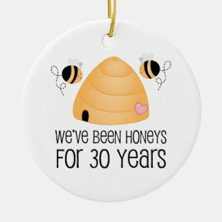 30th Anniversary Couple Gift Round Ceramic Decoration