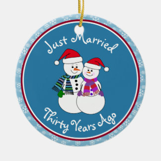 30th Anniversary Gift Fun Snow Couple Christmas Ornament