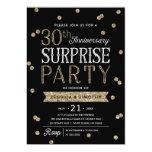 30th Anniversary Glitter Confetti Surprise Party 13 Cm X 18 Cm Invitation Card