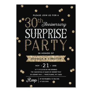 30th Anniversary Glitter Confetti Surprise Party Card