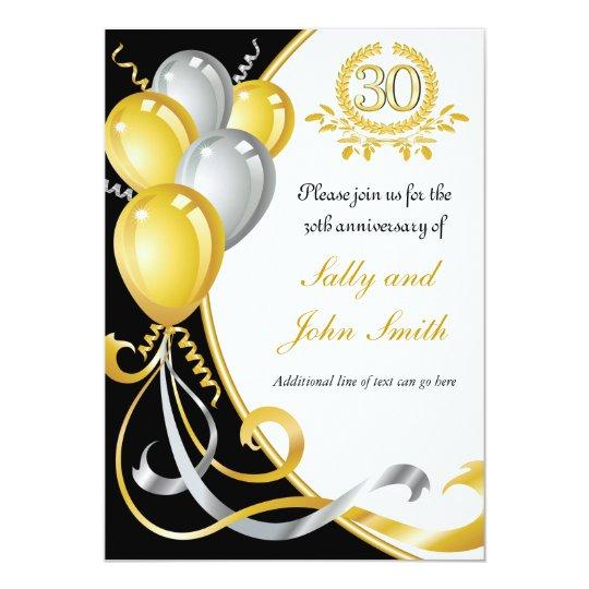 30th Anniversary Gold & Silver Birthday Invitation