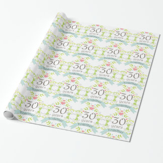 30th Anniversary Love Heart Gift Wrap