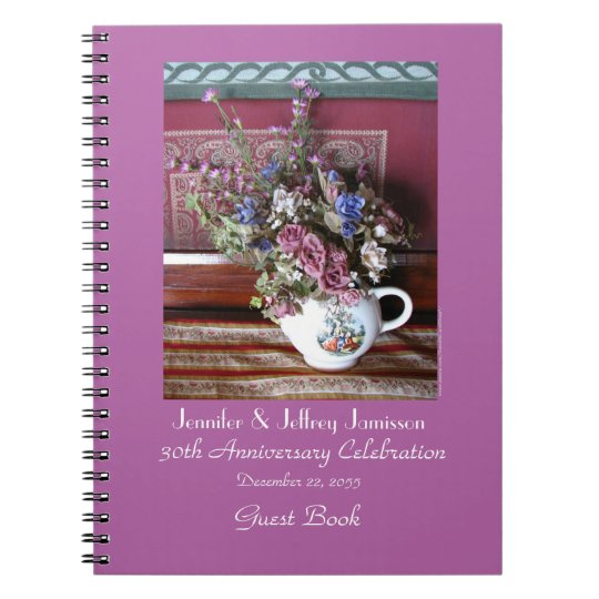 30th Anniversary Party Guest Book, Vintage Teapot Notebooks