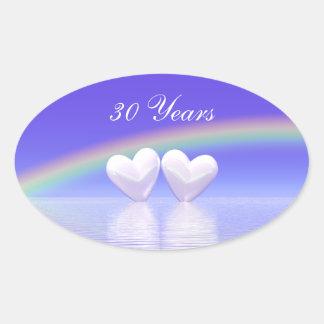 30th Anniversary Pearl Hearts Oval Sticker