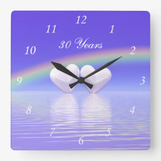 30th Anniversary Pearl Hearts Square Wall Clock