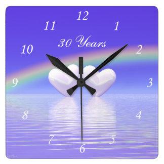 30th Anniversary Pearl Hearts Square Wall Clock