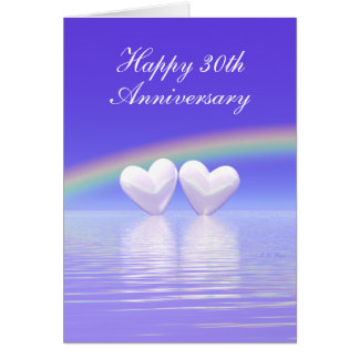 30th Anniversary Pearl Hearts (Tall) Card