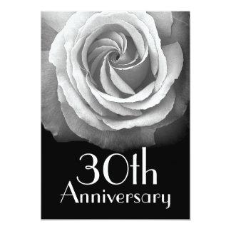 30th Anniversary Silver White Rose Card