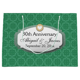 30th Anniversary Wedding Anniversary Green Z08 Large Gift Bag