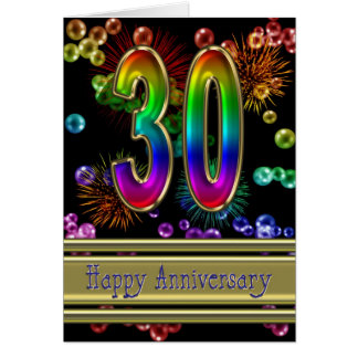 30th anniversary with fireworks and bubbles greeting card