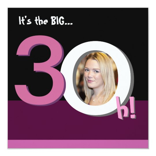 30th Big 3Oh! Photo Template Birthday Party -Pink