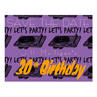 30th Birthday 60s Let's Party Save the date 3 Postcard