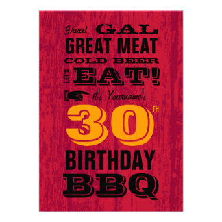 30th Birthday BBQ Grill Out Personalized Invite