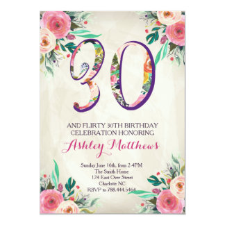 30th birthday Beautiful Floral Invitation, Card