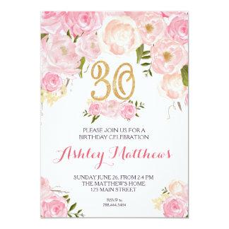 30th birthday Beautiful Floral Invitation, Card