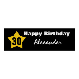 30th Birthday Big Star Banner Custom Name V01C Poster