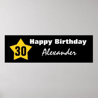 30th Birthday Big Star Banner Custom Name V01C Print