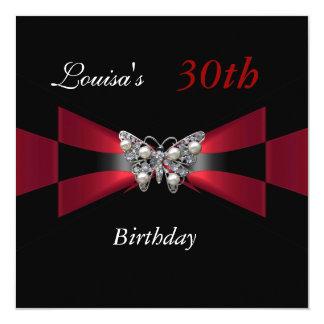 30th Birthday Black Red Butterfly Invite