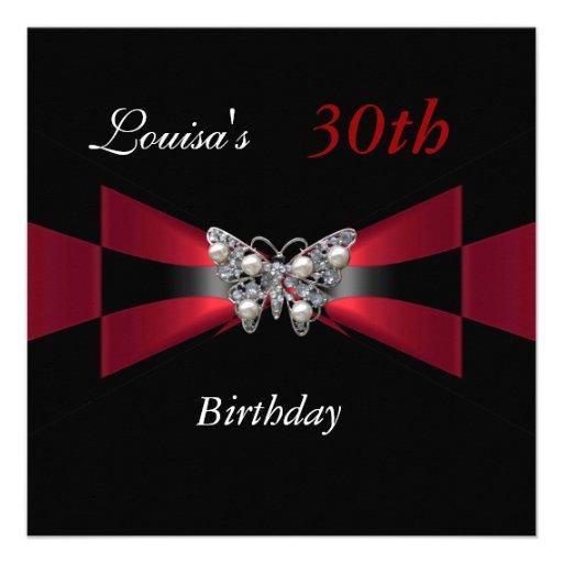 30th Birthday Black Red Butterfly Invite Custom Invitation