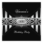 30th Birthday Black White Stripe Silver Personalised Announcement