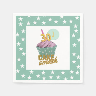 30th Birthday Cake Smash Paper Napkins