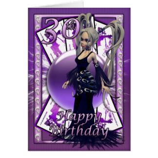 30th birthday car, happy 30th birthday goth doll greeting card