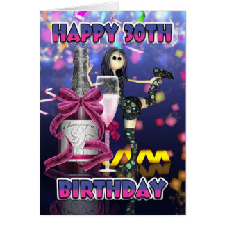 30th Birthday Card - Champagne Rag Doll