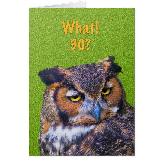 30th Birthday Card with Great Horned Owl Bird