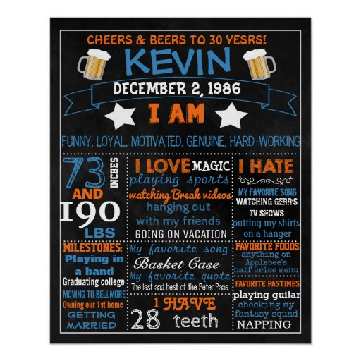 30th Birthday chalkboard sign for man men 40th