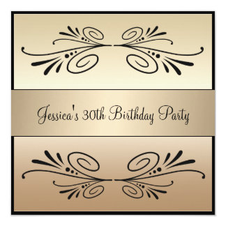 30th Birthday Coffee Brown Black Floral Party 13 Cm X 13 Cm Square Invitation Card