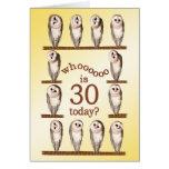 30th birthday, Curious owls card.