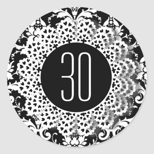 30th Birthday Damask and Lace 009CK Classic Round