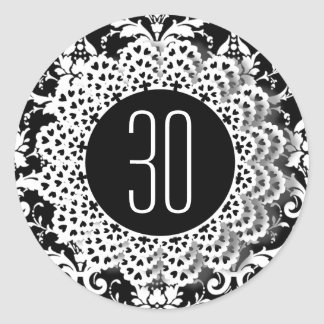 30th Birthday Damask and Lace 009CK Round Sticker