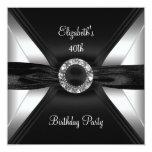 30th Birthday Diamond Image Black White Silver Invites